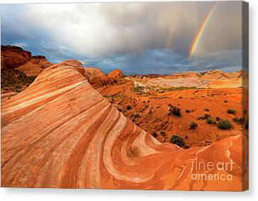 Double Desert Rainbow Canvas Print by Mike Dawson