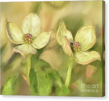 Canvas Print featuring the digital art Double Dogwood Blossoms In Evening Light by Lois Bryan