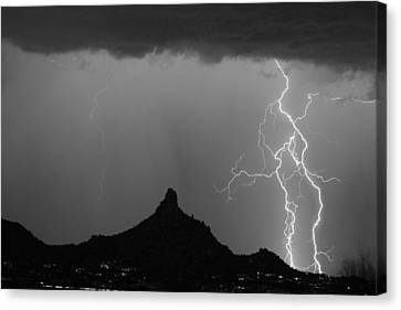 Double Lightning Pinnacle Peak Bw Fine Art Print Canvas Print by James BO  Insogna