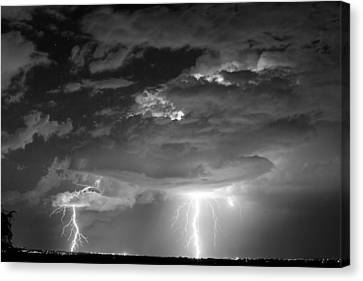 Double Lightning Strikes In Black And White Canvas Print