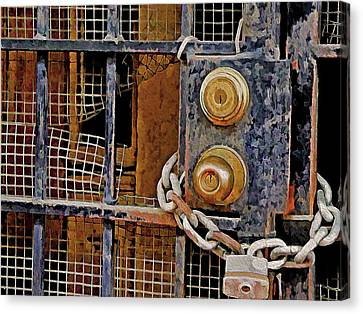 Canvas Print featuring the mixed media Double Locked by Lynda Lehmann