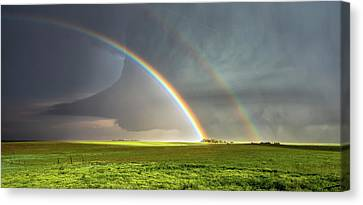 Double Rainbow And Tornado Canvas Print by Shane Linke