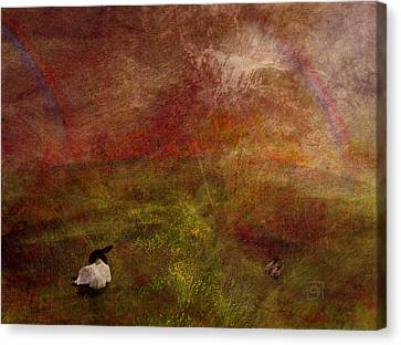 Canvas Print featuring the digital art Double Rainbow by Jean Moore