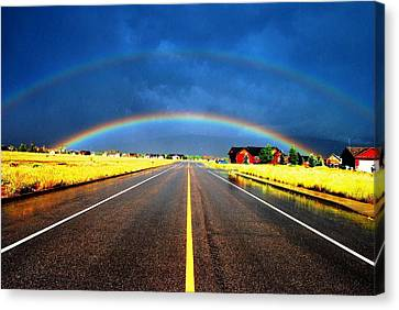 Double Rainbow Over A Road Canvas Print by Matt Harang