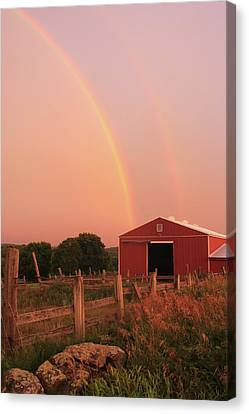 Double Rainbow Over Red Barn Canvas Print by John Burk