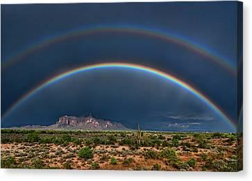 Canvas Print featuring the photograph Double Rainbow  by Saija Lehtonen