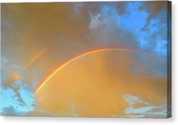 Double Rainbows In The Desert Canvas Print