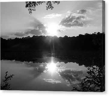 Double Sun Set  Canvas Print by D R TeesT
