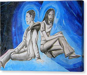 Canvas Print featuring the mixed media Double Take Of The Blues by Lee Nixon