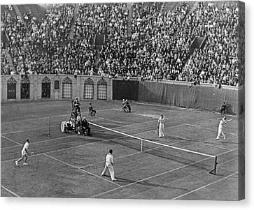Doubles Tennis At Forest Hills Canvas Print by Underwood Archives