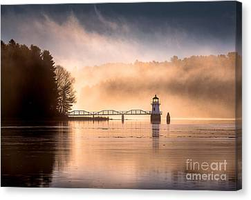 Doubling Point Lighthouse In The Mist Canvas Print
