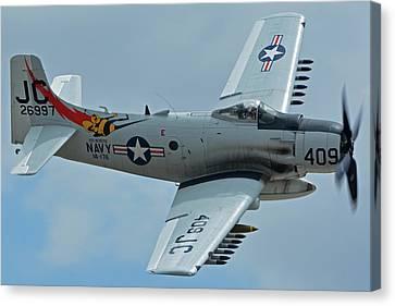 Canvas Print featuring the photograph Douglas A-1d Skyraider Nx409z Chino California April 30 2016 by Brian Lockett