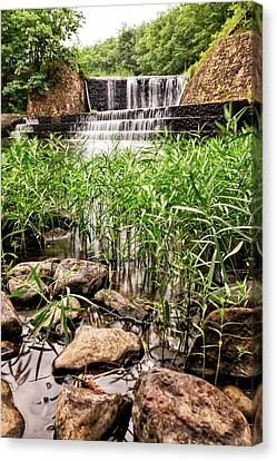 Canvas Print featuring the photograph Douthat Lake Dam by Alan Raasch