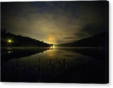 Canvas Print featuring the photograph Douthat Lake Night by Alan Raasch