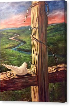 Canvas Print featuring the painting Dove On A Cross  Paloma  En Una Druz by Randol Burns