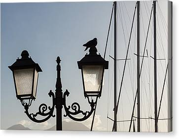 Antique Ironwork Canvas Print - Dove Perch - Quaint Cast Iron Harbor Lights And Boat Masts - Right by Georgia Mizuleva