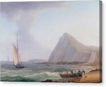Dover Cliffs Canvas Print by Thomas Whitcombe