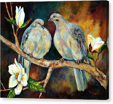Tree Blossoms Canvas Print - Doves And Magnolia by Peggy Wilson