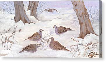 Doves In New York - Winter Canvas Print