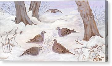 Doves In New York - Winter Canvas Print by Anna Folkartanna Maciejewska-Dyba