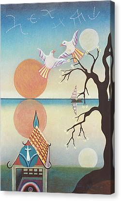Doves With Sun Canvas Print by Sally Appleby
