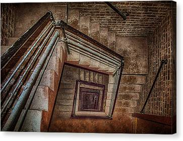 Down And Around - Staircase Canvas Print by Nikolyn McDonald