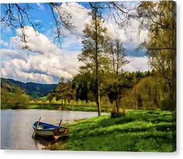 Canvas Print featuring the photograph Down By The Lake Photodigitalpainting by David Dehner