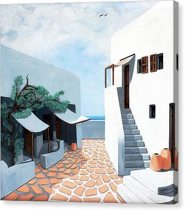 Down By The Sea In Mykonos Original Oil Available And Prints Canvas Print