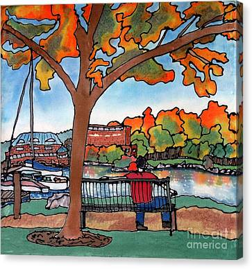 Down By The Waterfront On Silk Canvas Print by Linda Marcille