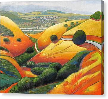 Canvas Print featuring the painting Down Metcalf Road by Gary Coleman