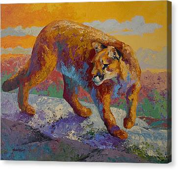 Down Off The Ridge - Cougar Canvas Print by Marion Rose