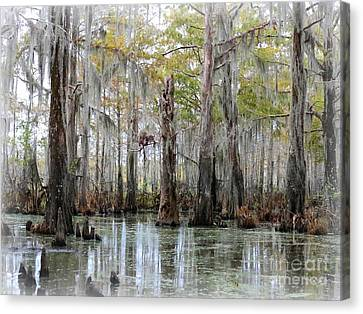 Down On The Bayou - Digital Painting Canvas Print by Carol Groenen