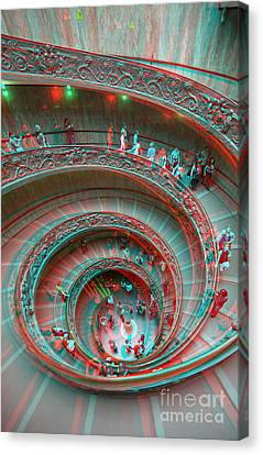 Exoticism Canvas Print - Down Stairs Anaglyph 3d by Stefano Senise