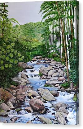 Down Stream  Canvas Print by Marilyn McNish