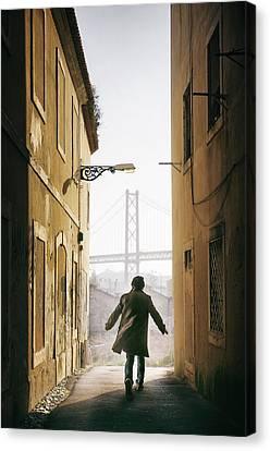 Down The Alley Canvas Print by Carlos Caetano