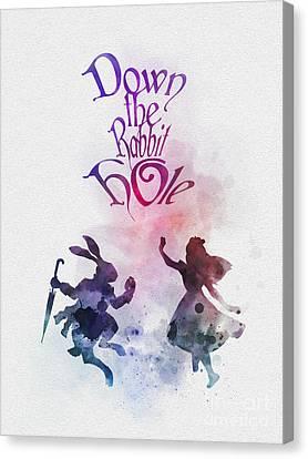 Rabbit Canvas Print - Down The Rabbit Hole by Rebecca Jenkins