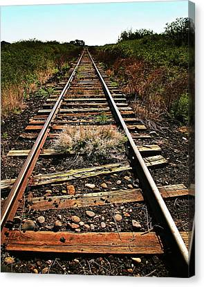 Down The Rails, Sepia Canvas Print by Don Schimmel