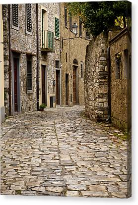 Down The Road In Montefiorella Canvas Print by Rae Tucker