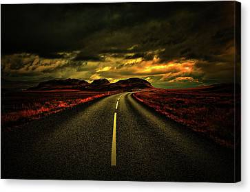 Canvas Print featuring the photograph Down The Road by Scott Mahon