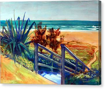 Canvas Print featuring the painting Down The Stairs To The Beach by Winsome Gunning