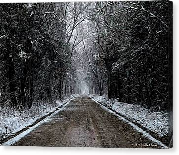 Down The Winter Road Canvas Print
