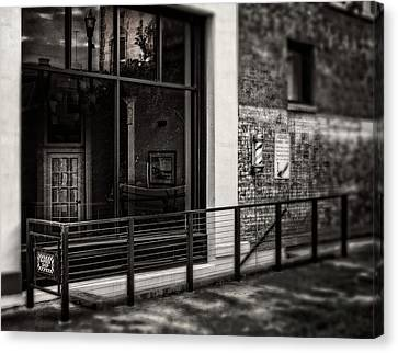 Canvas Print featuring the photograph Down To The Barber Shop In Black And White by Greg Mimbs