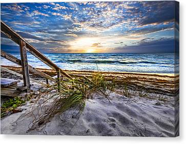 Down To The Shore Canvas Print by Debra and Dave Vanderlaan