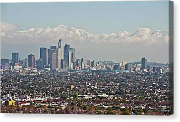 Down Twon Los Angeles In Winter Canvas Print by Lee Chon