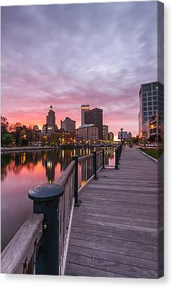 Downcity Sunset Canvas Print by Bryan Bzdula