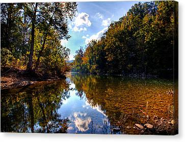 Canvas Print featuring the photograph Downriver At Ozark Campground by Michael Dougherty
