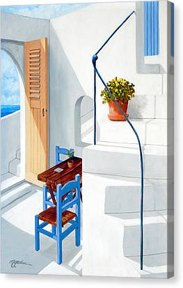 Downstairs In Santorini - Prints Of Original Oil Painting Canvas Print by Mary Grden Fine Art Oil Painter Baywood Gallery
