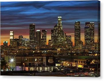 Downtown At Dusk Canvas Print by Shabdro Photo