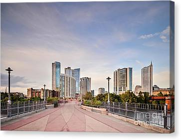 Downtown Austin Skyline From Lamar Street Pedestrian Bridge - Texas Hill Country Canvas Print