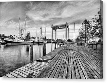 Downtown Bayou La Batre Black And White Canvas Print